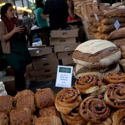 Market stall selling fresh bread in the City of London