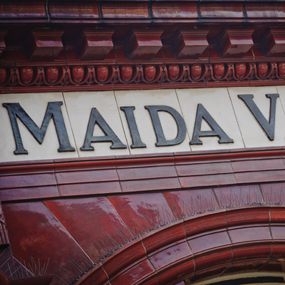 Sign above the station Maida Vale in West London