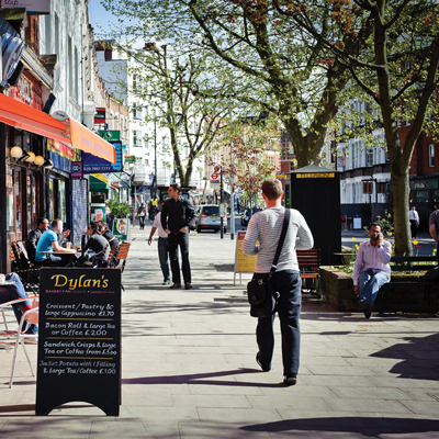 Shops and restaurants in West Hampstead